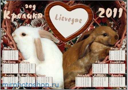 рамка календарик на 2011 год кролика