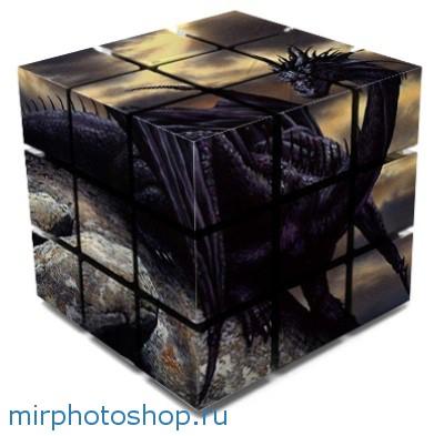 Дракон водяной и черный на кубе