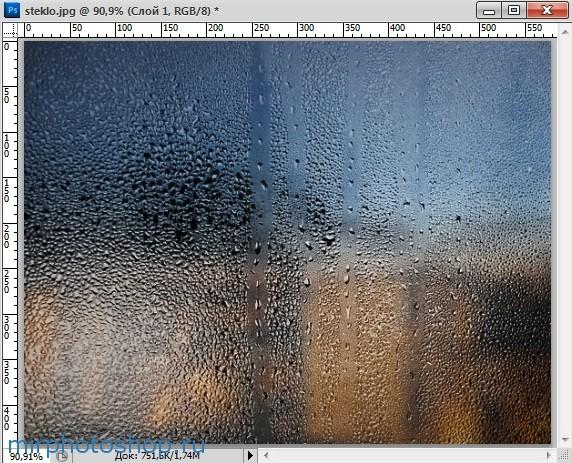 капли на стекле в фотошопе