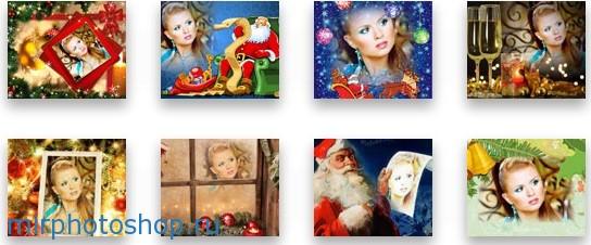 сделать новогодние открытки с Дедом Морозом, с елкой и с новогодними шарами