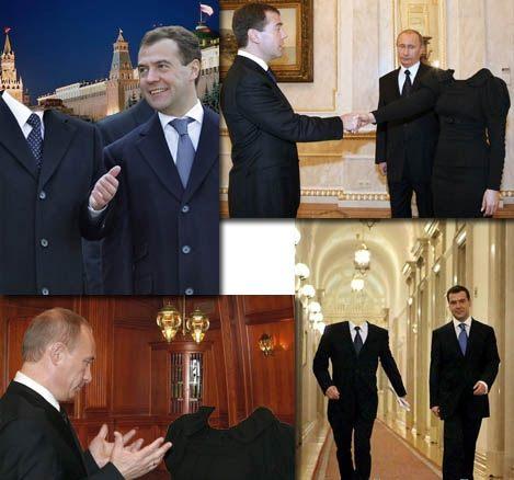 Шаблоны для фотошоп: Медведев и Путин