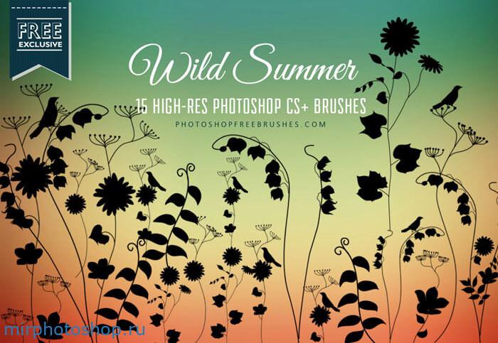 Цветочные кисти с летними дикими и красивыми цветами